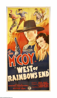 """West of Rainbow's End (Monogram, 1938). Three Sheet (41"""" X 81""""). Offered here is an original poster for this W..."""