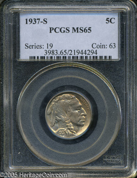 1937 Buffalo Nickel MS65 PCGS 5c US Mint Coin