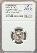 Ancients:Roman Imperial, Ancients: Tiberius (AD 14-37). AR denarius (3.60 gm). NGC VF 5/5 -2/5....