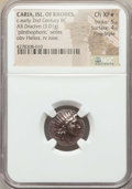 Ancients:Greek, Ancients: CARIAN ISLANDS. Rhodes.Ca. early 2nd century BC. ARdrachm (3.01 gm). NGC Choice XF ★ 5/5 - 4/5, Fine Style....