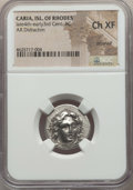 Ancients:Greek, Ancients: CARIAN ISLANDS. Rhodes. Ca. 300-250 BC. AR didrachm. NGCChoice XF, brushed....
