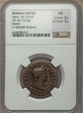 Ancients:Roman Imperial, Ancients: Nero (AD 54-68). AE As (10.2 gm). NGC VG 4/5 - 3/5....