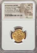 Ancients:Byzantine, Ancients: Heraclius (AD 610-641), with Heraclius Constantine andHeraclonas as Caesar. AV solidus (4.48 gm). NGC MS 3/5 - 4/5, dieshift...
