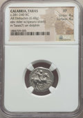 Ancients:Greek, Ancients: CALABRIA. Tarentum. Ca. 272-240 BC. AR stater or didrachm(6.48 gm). NGC XF 4/5 - 4/5....