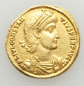 Ancients:Roman Imperial, Ancients: Constantius II (AD 337-361). AV solidus (4.32gm).Choice VF, clipped....