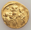 Ancients:Byzantine, Ancients: Heraclius (AD 610-641), with Heraclius Constantine andHeraclonas as Caesar. AV solidus (4.43 gm). About XF....