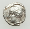Ancients:Greek, Ancients: THRACO-MACEDONIAN. Unknown City or Tribe. Ca. 400-350 BC.AR hemiobol (0.24 gm). NGC (photo certificate) AU 4/5 - 4/5....