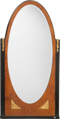 Furniture : Continental, An Art Deco Burled, Ebonized, and Giltwood Mirror, circa 1930.58-3/4 inches high x 33 inches wide (149.2 x 83.8 cm). PROP...