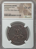 Ancients:Byzantine, Ancients: Anonymous. Class A2. Time of Basil II and Constantine VIII (ca. AD 1020-1028). AE follis. NGC Choice VF....
