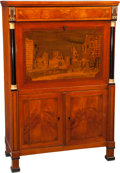 Furniture : Continental, An Unusual German Biedermeier Landscape Marquetry and CherrySecrétaire à Abattant, South Germany, circa 1810. 57 h x 38 w x...(Total: 2 Items)