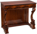 Furniture , A Neoclassical Biedermeier Mahogany Console with Dolphin Motif, early 19th century. 41 h x 36 w x 22 d inches (104.1 x 91.4 ...