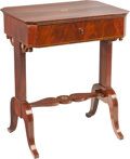 Furniture : Continental, A Viennese Mahogany and Brass Inlaid Single-Drawer Vanity Table,circa 1830. 31 h x 25-1/4 w x 19-1/2 d inches (78.7 x 64.1 ...