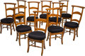 Furniture : Continental, Ten Biedermeier Cherry Prayer Chairs Originally from the San MarienMonastery in Belgium, first half 19th century. 40-1/2 h ... (Total:10 Items)