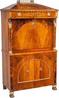 A Viennese Biedermeier Walnut and Maple Fall-Front Secretary in the Egyptian Revival Taste, circa 1820 59-1/2 h x