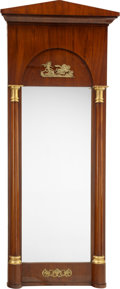 Furniture : Continental, A Large German Neoclassical Empire Mahogany, Giltwood, and GiltBronze Pier Mirror, Hessen-Kassel Region, Germany, circa 182...