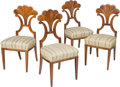 Furniture : Continental, Four South German Biedermeier Fan-Back Side Chairs, early 19thcentury. 37-1/8 h x 18 w x 18-1/2 d inches (94.3 x 45.7 x 47....(Total: 4 Items)