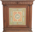 Furniture : Continental, A Large American or European Renaissance Revival Carved and Painted Oak Fireplace Mantel, circa 1900. 60 h x 62 w x 23-1/4 d...