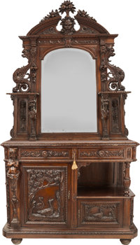 Another American Renaissance Revival Carved Oak Mirrored Buffet with Marble Top, circa 1880 39-3/4 h x 53 w x 21 d