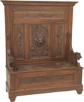 Furniture , A Renaissance Revival Two-Part Carved Oak Hall Bench, late 19th century. 67 h x 52-1/2 w x 19-5/8 d inches (170.2 x 133.4 x ... (Total: 2 Items)