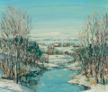Fine Art - Painting, American, Walter Emerson Baum (1884-1956). Winter River and Houses,n.d.. Oil on masonite. 13-1/2 x 16 inches (34.3 x 40.6 cm). Si...
