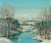 Walter Emerson Baum (1884-1956) Winter River and Houses, n.d. Oil on masonite 13-1/2 x 16 inches