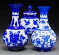 Asian:Chinese, Three Chinese Blue and White Peking Glass Vessels. 9-3/4 inches high x 5 inches diameter (24.8 x 12.7 cm) (largest, vase). ... (Total: 3 Items)