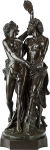 Sculpture, After Michel Claude Clodion (French). Bacchanal. Bronze with brown patina. 36 inches (91.4 cm) high. Inscribed on base: ...