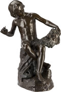Sculpture, Bianchi (19th Century). Figural Group. Bronze with brown patina. 22 inches (55.9 cm) high. Inscribed on base: Bianchi ...