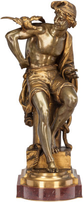 After Charles Brunin (Belgian) Neapolitan Fisherman Bronze with gilt patina 23 inches (58.4 cm) h