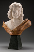Fine Art - Sculpture, European:Modern (1900 - 1949), Ferdinando Vichi (American, 1875-1945). Bust of a Woman. Marble and alabaster. 21 inches high (35.6 cm). Inscribed on ba...