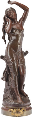 Hippolyte Moreau (French/American, 1832-1927) Le Reveil Bronze with brown patina 28 inches (71.1