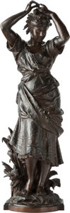 Sculpture, After Auguste Louis Moreau (French). Woman Placing Flowers in her Hair. Bronze with brown patina. 38 inches (96.5 cm) hi...