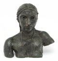 Sculpture, Sir Jacob Epstein (1880-1959). Third Portrait of Sunita (Bust with necklace), 1926. Bronze with green patina. 23-1/4 x 2...