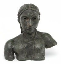 Sir Jacob Epstein (1880-1959) Third Portrait of Sunita (Bust with necklace), 1926 Bronze with green