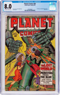 Golden Age (1938-1955):Science Fiction, Planet Comics #64 (Fiction House, 1950) CGC VF 8.0 Off-white towhite pages....