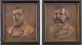 Political:3D & Other Display (pre-1896), Blaine & Logan: Lovely Matched Pair of Signed PortraitPlaques.... (Total: 2 Items)