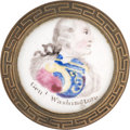 Political:3D & Other Display (pre-1896), George Washington: Rare Variety of Battersea Enameled Curtain Tie-Back....
