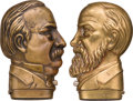 Political:3D & Other Display (pre-1896), Grover Cleveland and Benjamin Harrison: Pair of Figural Match Safes.... (Total: 2 Items)