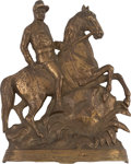 Political:3D & Other Display (1896-present), Theodore Roosevelt: Brass Finish Metal Equestrian Figure in RoughRider Uniform....