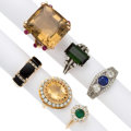 Estate Jewelry:Rings, Diamond, Multi-Stone, Gold Rings. ... (Total: 6 Items)