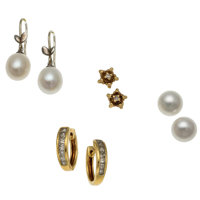 Diamond, Cultured Pearl, Gold, Silver Earrings