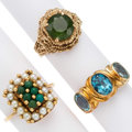 Estate Jewelry:Rings, Multi-Stone, Gold Rings The lot includes: one ...