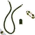 Estate Jewelry:Lots, Nephrite Jade, Gold Jewelry. ... (Total: 4 Items)