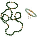 Estate Jewelry:Lots, Jade, Gold Jewelry. ... (Total: 2 Items)