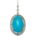 Estate Jewelry:Pendants and Lockets, Turquoise, Diamond, White Gold Pendant. ...