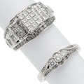 Estate Jewelry:Rings, Diamond, White Gold Rings The lot includes: on...