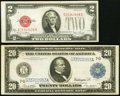 Large Size, Fr. 991a $20 1914 Federal Reserve Note Fine-VF;. Fr. 1508 $2 1928G Legal Tender Note VF.. ... (Total: 2 notes)