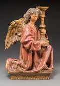 Decorative Arts, Continental:Other , A Florentine Polychromed Terracotta Ecclesiastical Angel AfterNiccolo dell'Arca, 19th century. 19-1/4 h x 13 w x 7-1/4 d in...