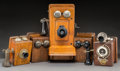 General Americana, Five Various American Oak-Mounted Wall Telephones, circa 1905-1920.19 h x 9 w x 12 d inches (48.3 x 22.9 x 30.5 cm) (larges... (Total:5 Items)