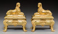 Decorative Arts, French, A Pair of Egyptian Revival Gilt Bronze Sphinx Chenet, early 20thcentury. 9-1/2 h x 8 w x 8 d inches (24.1 x 20.3 x 20.3 cm)...(Total: 2 Items)